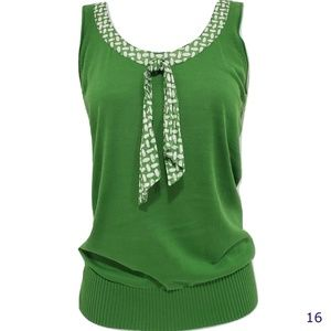 J Crew Green Knit Tank Top With Tie Size M